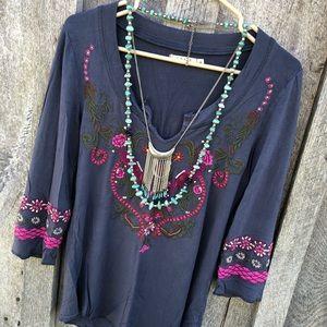 Caite Sundance S floral embroidered tunic top boho